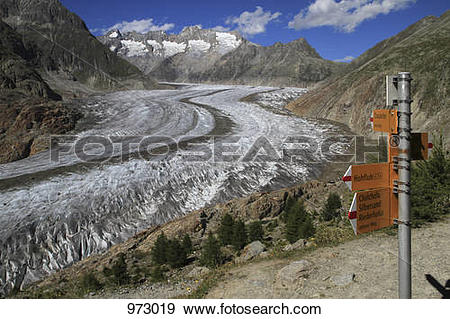 Stock Photograph of A sign post next to a glacier in the Swiss.