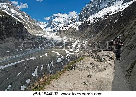 Stock Photo of Glace de Mer glacier, Chamonix, French Alps, Rhone.