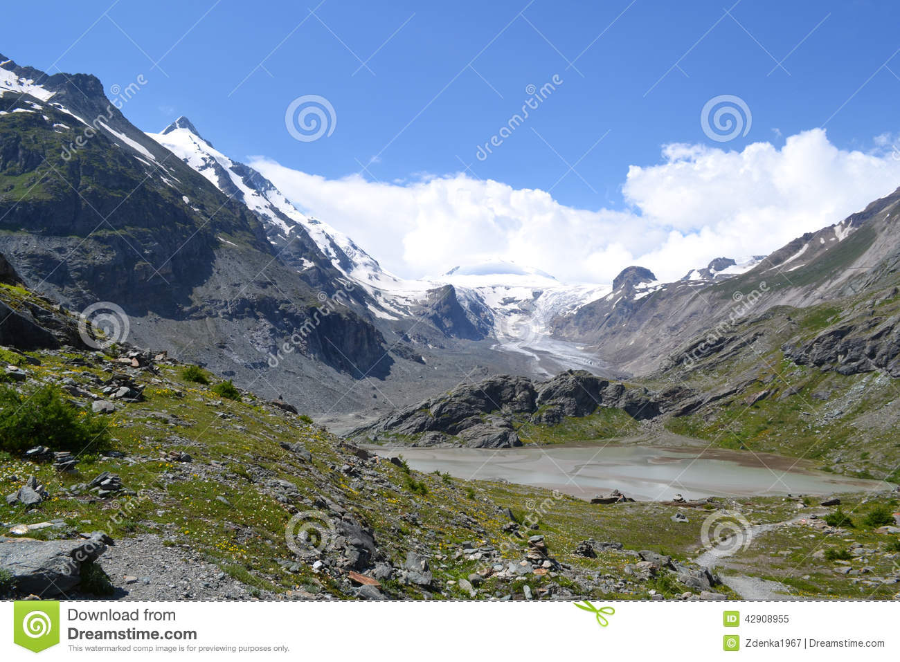 Mountains Austrian Alps Glacier Pasterze Stock Photo.
