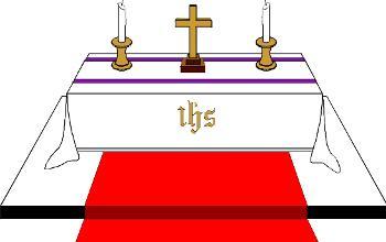 Body on altar clipart.