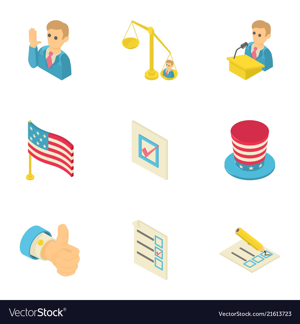 American dream icons set isometric style.