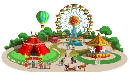 Set Of Vector Design Composition With Amusement Park Elements.
