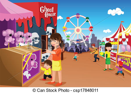 Vector Clip Art of Family playing in an amusement park.