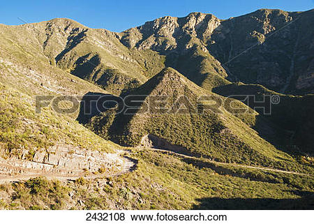 Pictures of Steep dirt road in the Andes; Mendoza, Argentina.