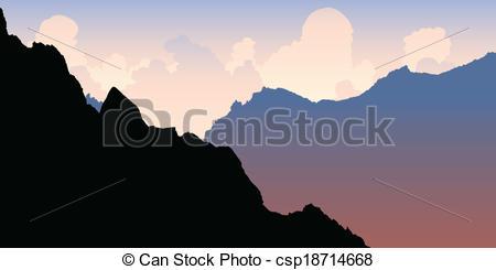 Clip Art Vector of Andes Morning Light.