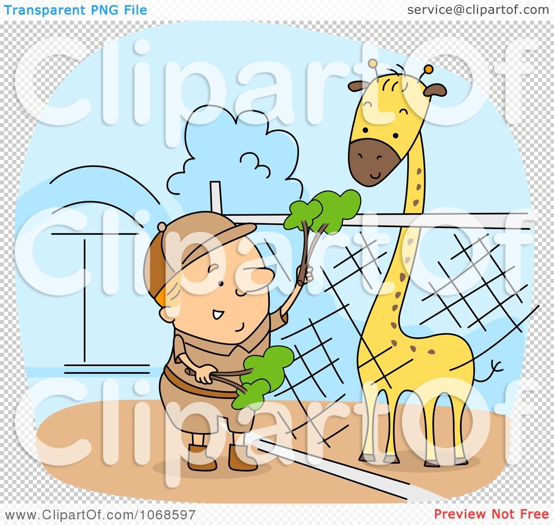 Clipart Zookeeper Feeding A Giraffe.