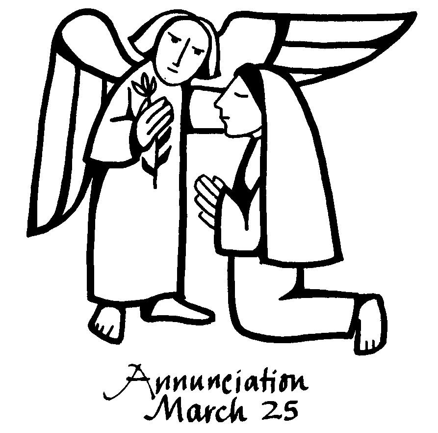 annunciation of mary line drawing.