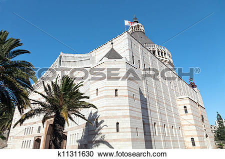 Stock Photography of The Basilica of the Annunciation in Nazareth.