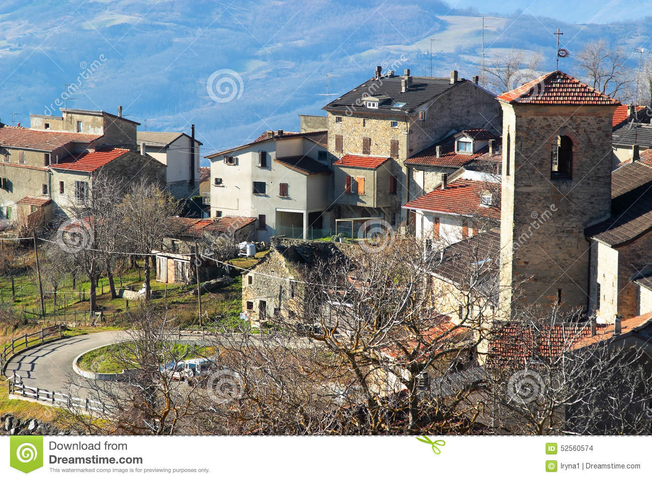 Small Old Village In The Apennines Mountains Stock Photo.