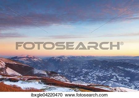 Stock Photography of Winter sunset on Mount Nerone, Monte Nerone.