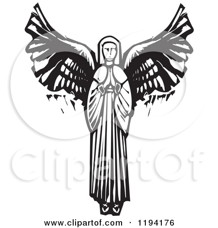 Clipart of a Saint Michael the Archangel with a Sword Black and.