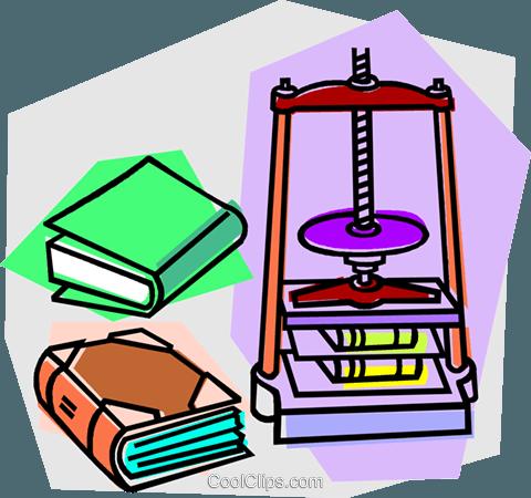 book binding press Royalty Free Vector Clip Art illustration.