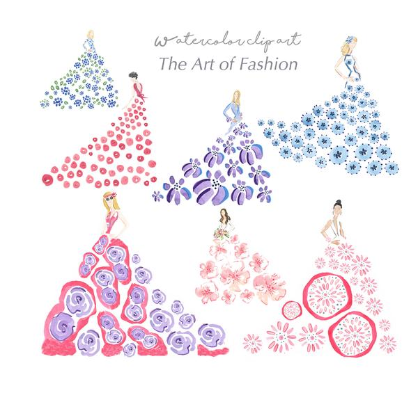 The Art of Fashion Watercolor Digital Clip Art Collection.