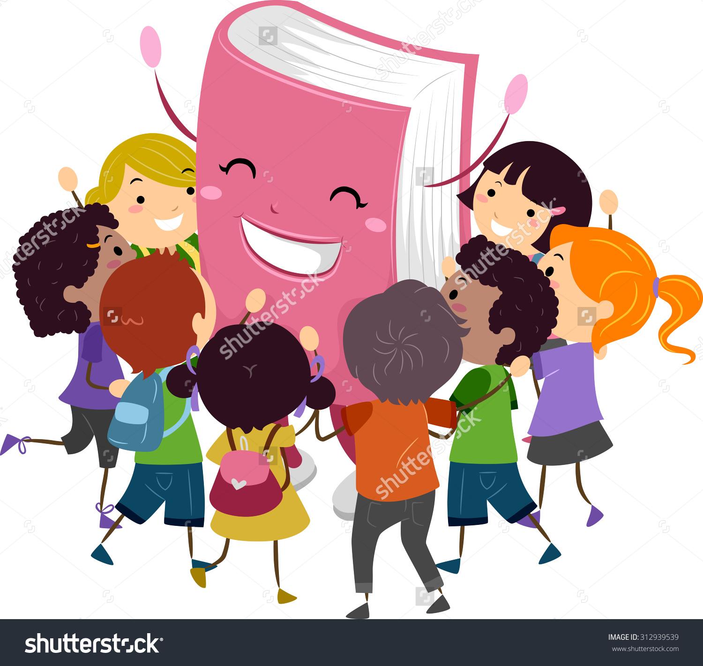 Stickman Illustration Kids Hugging Book Mascot Stock Vector.