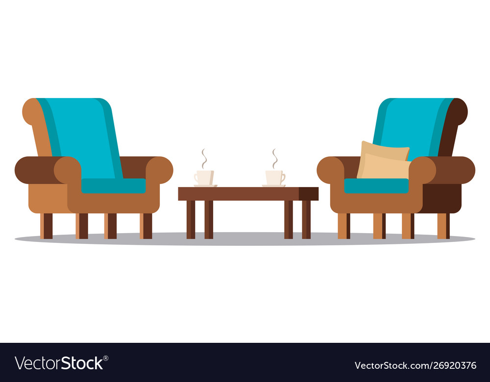 Clip art image cozy living room furniture.