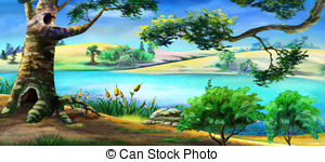 Grass on the bank of river Clipart and Stock Illustrations. 26.