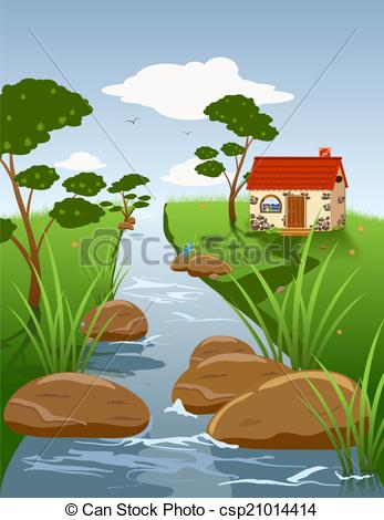 Clipart of Summer landscape with a stream.