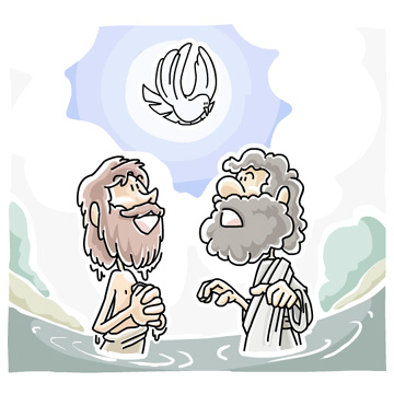 Jesus Being Baptized Clipart.