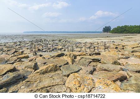 Stock Photo of Beach stone wall csp18714722.