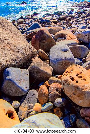 Stock Photography of Various types of beach stone, Japan k18734700.