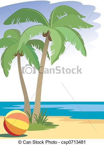 Beach palm tree clipart.