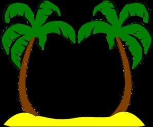 Palm Trees On The Beach Clipart.