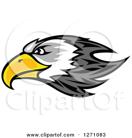 Clipart of a Firece Bald Eagle Head with Red Eyes.