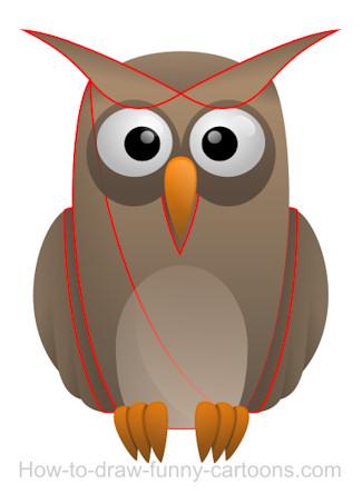 Drawing an owl cartoon.