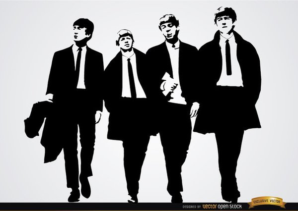 The Beatles Band Wallpaper Free Vector.