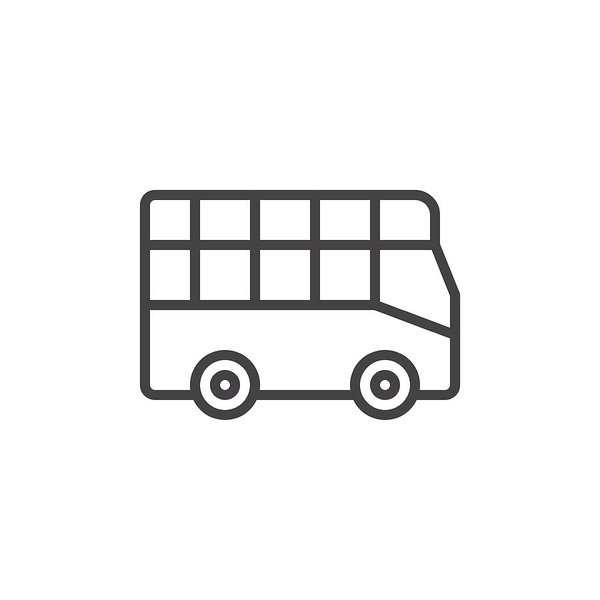 City Tour Bus Line Icon, Outline Vector Sign, Linear Style Pictogram  Isolated On White. Double Decker Symbol Illustration. Art Print.