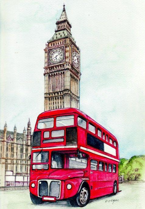 Craft Fabric london bus and big ben print by MorgansFaeWorld.