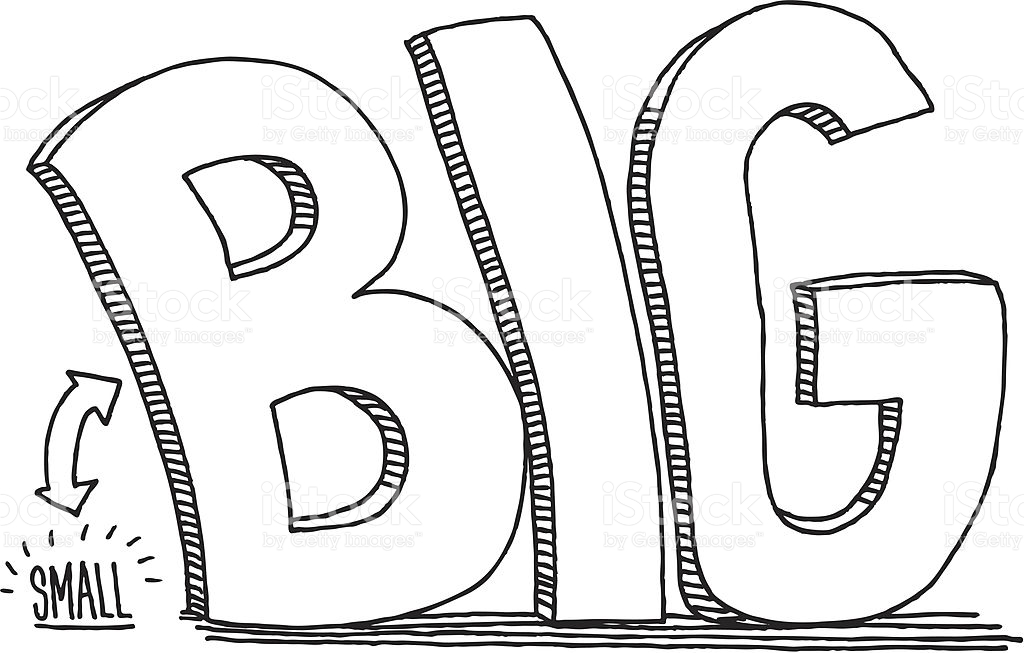 Small Big Comparison Text Drawing stock vector art 165959049.