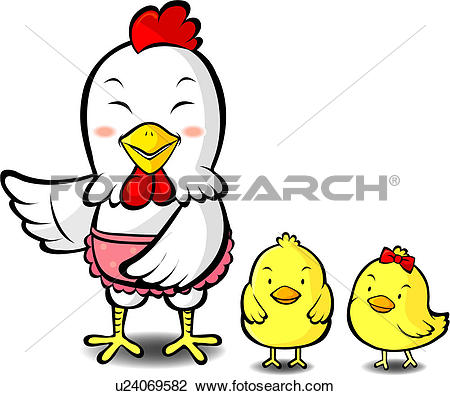 Clip Art of birds, chick, bird, vertebrate, animal, fowl, hen.