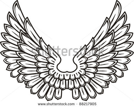 Bird with open wings clipart.