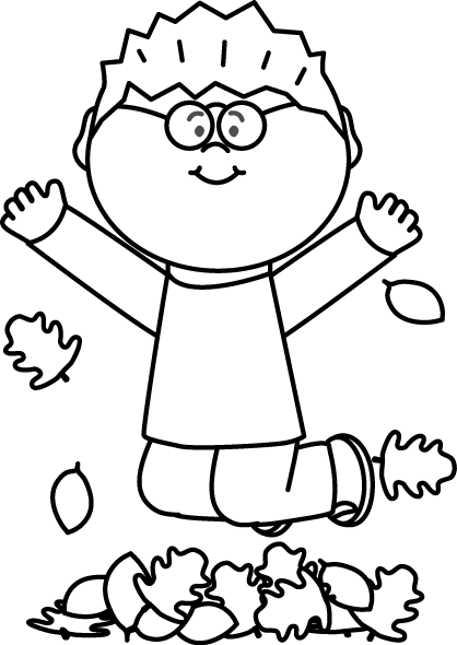 raking leaves clipart black and white - Clipground