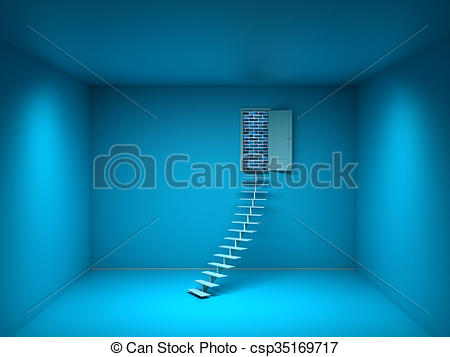 Clipart of 3d blue room with opened door. Brick wall.