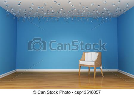 Stock Illustrations of alone white chair in blue room.