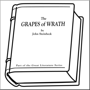 Clip Art: Book: The Grapes of Wrath B&W I abcteach.com.