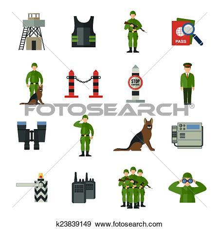 Clip Art of Border Guard Icons Flat k23839149.