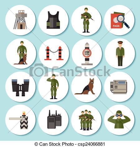 Vector of Border Guard Icon Flat.