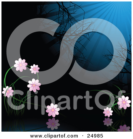 Clipart Illustration of Colorful Funky Flowers On A Rainbow Wave.