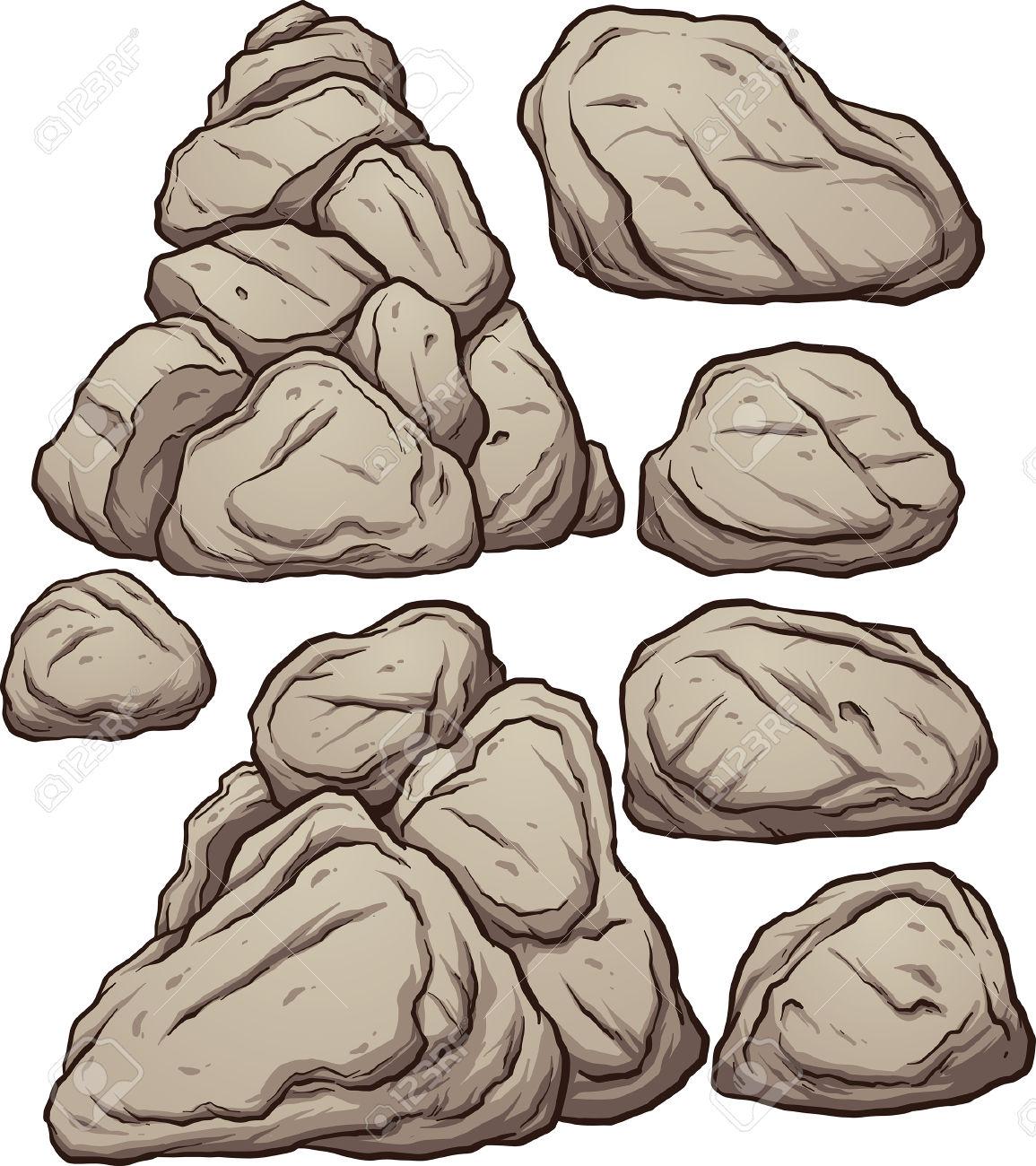 Cartoon Boulders. Vector Clip Art Illustration With Simple.