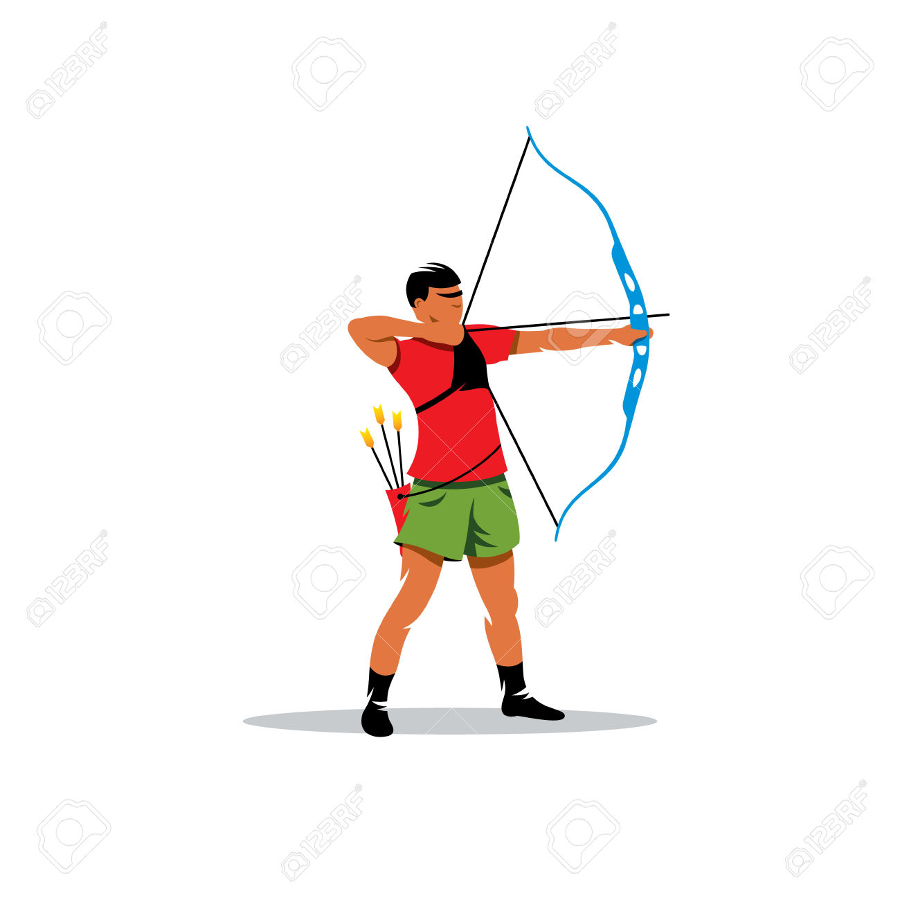 Sports Archery, Archer Pulled The Bowstring Isolated On White.