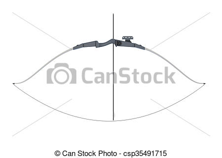 Clipart of Bow with a tight bowstring isolated on white background.