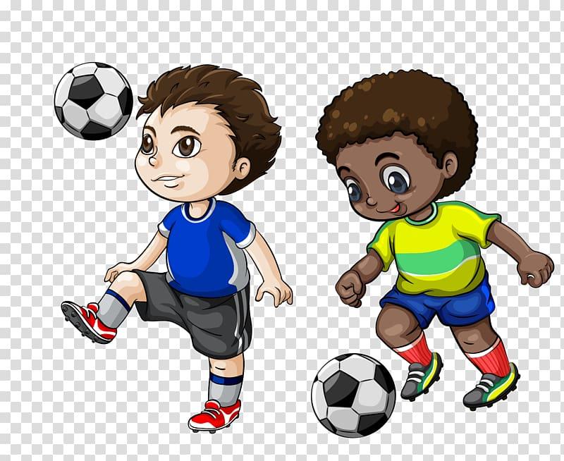 Two boys playing soccer , Football player Cartoon , football.