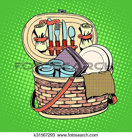Clipart of The Breakfast picnic basket nature k31567293.