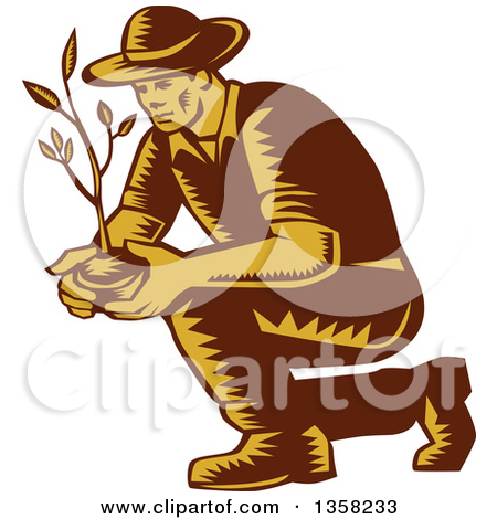 Clipart of Gray Nurturing Hands Holding a Green Plant.