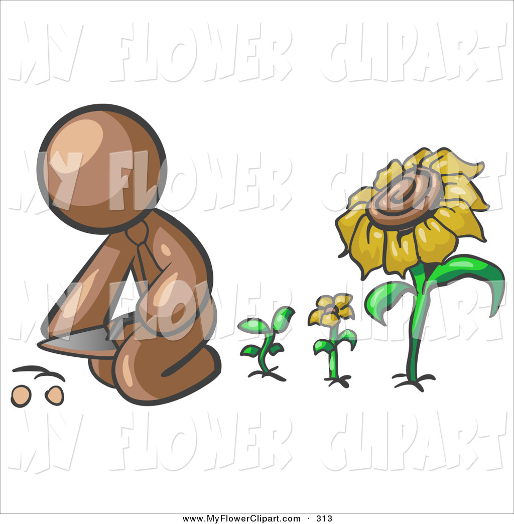 Clip Art of a Caring Brown Man Kneeling by Growing Sunflowers to.