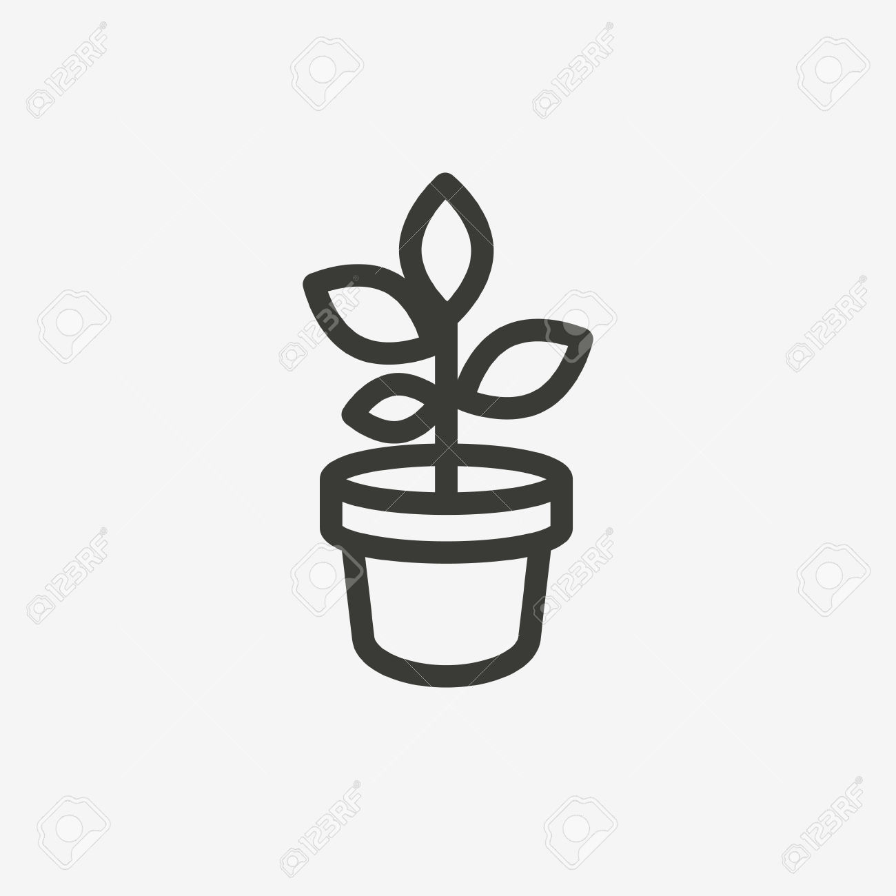 Potted Plant Icon Of Brown Outline For Illustration Royalty Free.