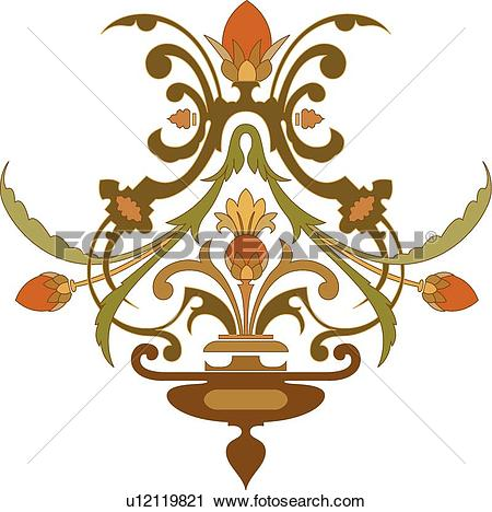 Clipart of Brown, orange and green, plant Design Ornament.